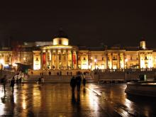 National Gallery building in the evening